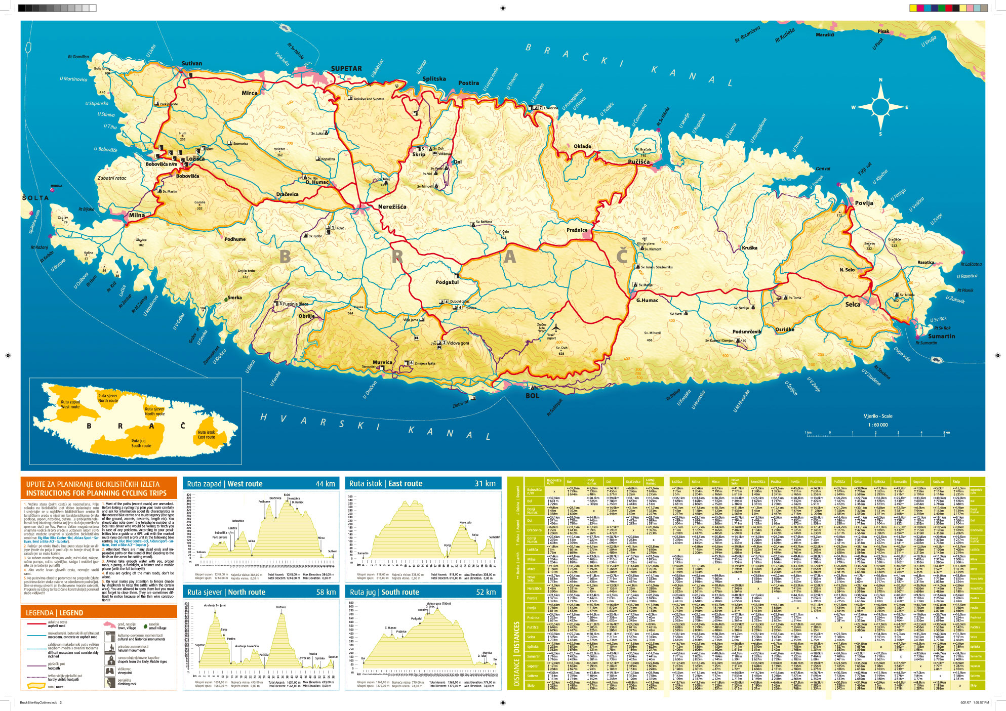 Bike map island Brac Croatia