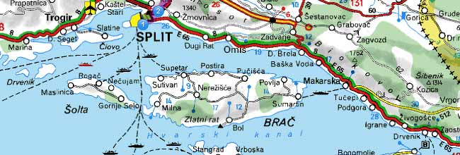 Ferry map Split Supetar Hvar Croatia